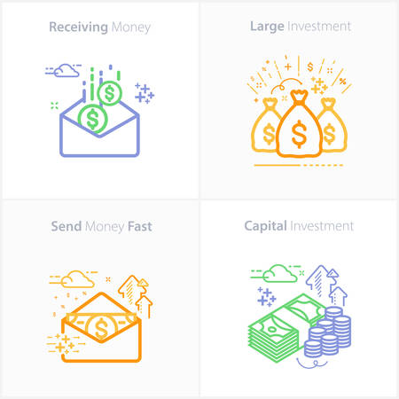 Business and finance : Receiving money icon / Large investment icon / Send money fast icon / Capital Investment icon