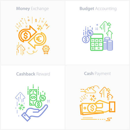 Business and Finance Icon Set, Budget accounting icon / Money exchange icon / Cashback reward icon / Cash payment icon Ilustração