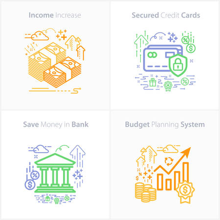 Business and Finance Icon Set / Income increase / Secured credit cards / Save money in bank / Budget planning system