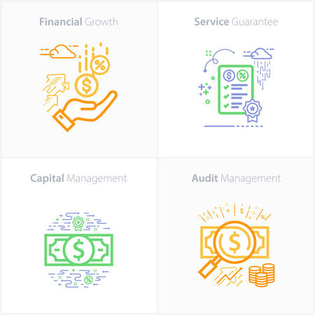 Business and Finance icon set, Financial growth / Service Guarantee / Capital management / Audit management