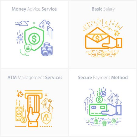 Banking and Finance Icon Set / Money advice service / Basic salary / ATM management services / Secure payment method. Ilustração