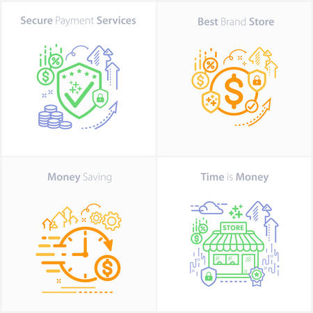 Banking and Finance Secure payment services / Best brand store / Money saving / Time is money.
