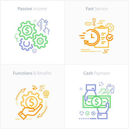 Colorful flat design icon passive income / Fast Service / Functions & Benefits / Cash payment