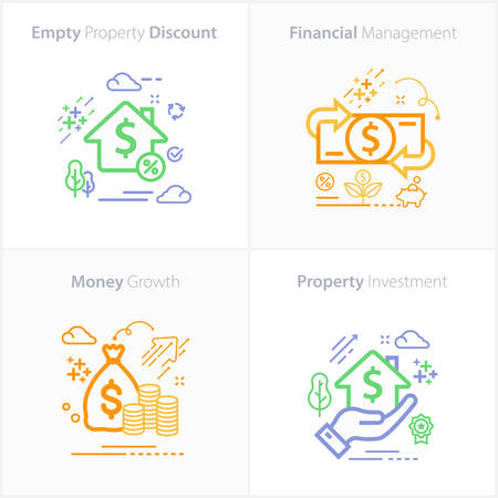 Business and Finance Flat Colorful Icon Set / Empty property discount / Financial management / Property Investment / Money growth Ilustração