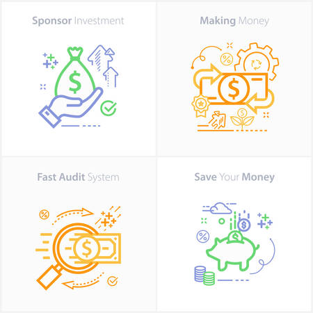 Sponsor investment concept icon / Making money concept icon / Fast audit system concept icon / Save your money concept icon