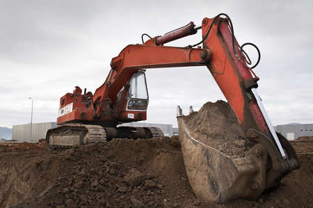 earth moving: earth moving excavator Stock Photo