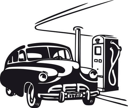 Automobile at the gas station, Retro Vector Illustration Иллюстрация