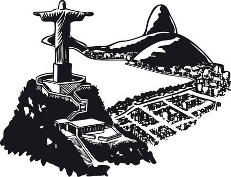 Corcovado in Brazil, Retro Vector Illustration