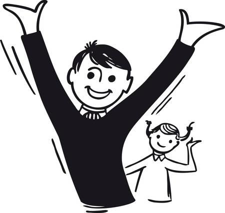 Cheering boy and girl, Retro Vector Illustration