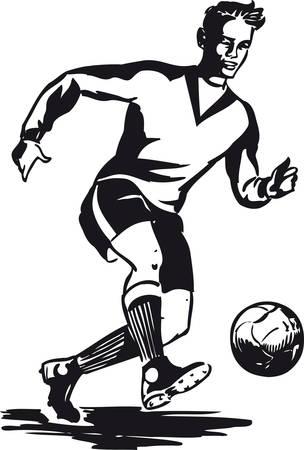 ドリブルサッカー選手、レトロベクターイラスト  イラスト・ベクター素材