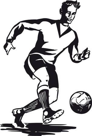 Dribbling soccer player, Retro Vector Illustration