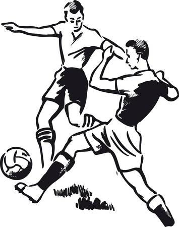 Soccer duel, Retro Vector Illustration 일러스트