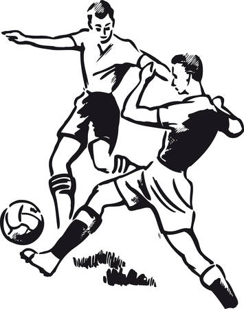 Soccer duel, Retro Vector Illustration Illustration
