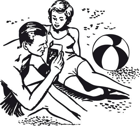 Man and woman at the beach with camera, Retro Vector Illustration Иллюстрация