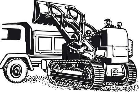 Excavator with truck, Retro Vector Illustration