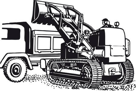 Excavator with truck, Retro Vector Illustration