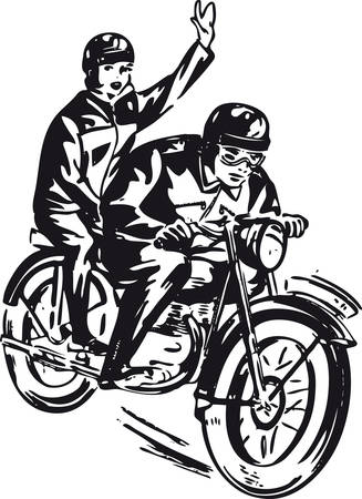 Couple on a motorcycle, Retro Vector Illustration