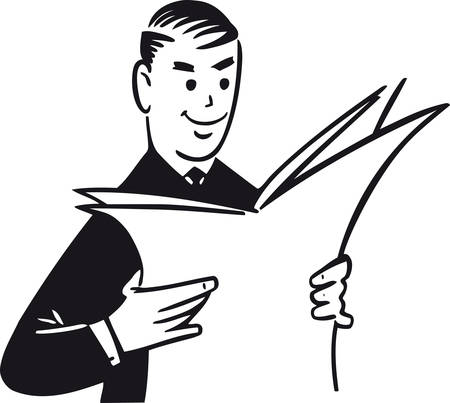 Man reading newspaper, Retro Vector Illustration