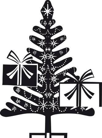 Christmas tree, Retro Vector Illustration 일러스트
