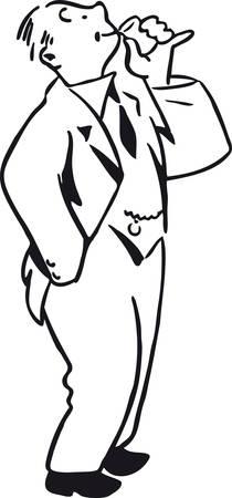Drinking guy, Retro Vector Illustration Vettoriali