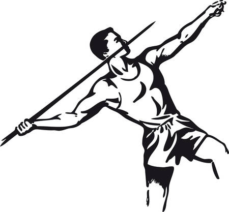 Javelin thrower, Retro Vector Illustration 向量圖像