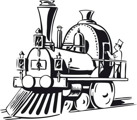 Little steam locomotive, Retro Vector Illustration