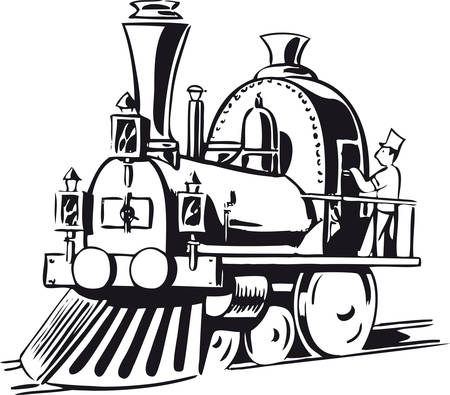 Little steam locomotive, Retro Vector Illustration