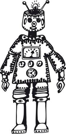 Robot X-1, Retro Vector Illustration