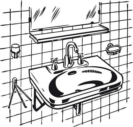 Clean lavabo, Retro Vector Illustration 일러스트