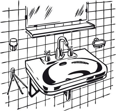 Clean lavabo, Retro Vector Illustration Иллюстрация