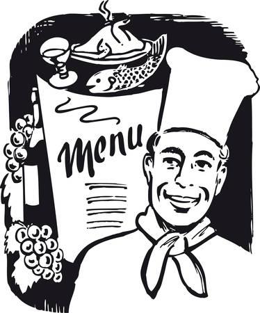 Menu card, Retro Vector Illustration Foto de archivo - 99734185