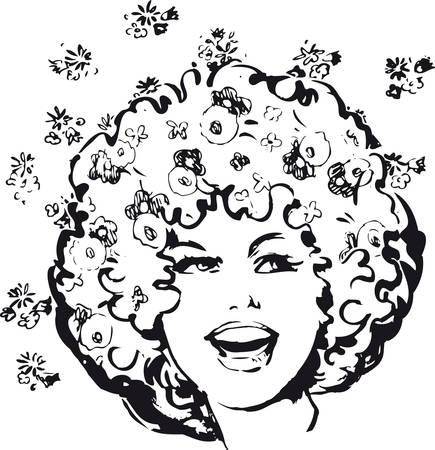 Flower power woman, Retro Vector Illustration Ilustrace