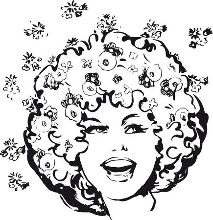 Flower power woman, Retro Vector Illustration Illustration