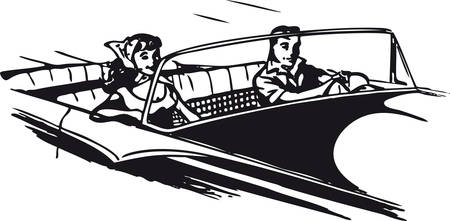 Young couple in convertible, Retro Vector Illustration Иллюстрация