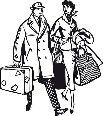 Couple with baggage, Retro Vector Illustration