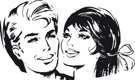 Happy couple, Retro Vector Illustration