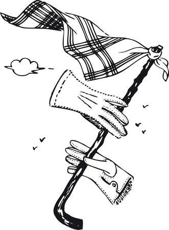 Bastón, guantes y pañuelo para el cuello, ilustración vectorial retro