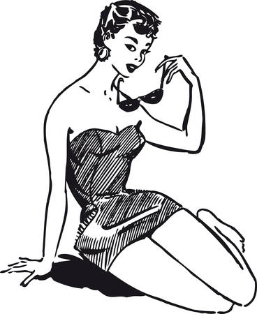 Beautiful woman at the beach, Retro Vector Illustration