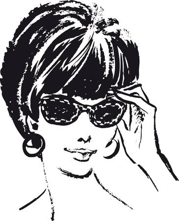 Woman with sunglasses, Retro Vector Illustration