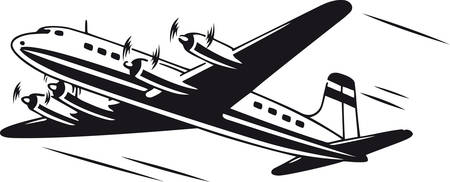 Four-engined airplane, Retro Vector Illustration