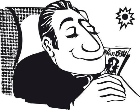 Relaxed man, Retro Vector Illustration 일러스트