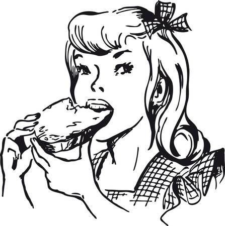 Girl eating a jam bread, Retro Vector Illustration Illustration