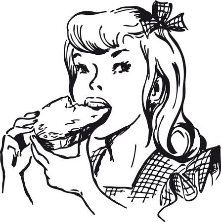 Girl eating a jam bread, Retro Vector Illustration Vettoriali