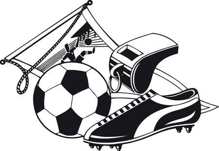 Soccer set, Retro Vector Illustration