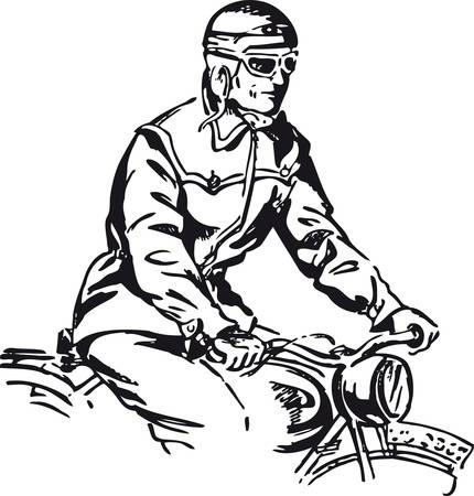 Man on a motorcycle, Retro Vector Illustration Archivio Fotografico - 99734287
