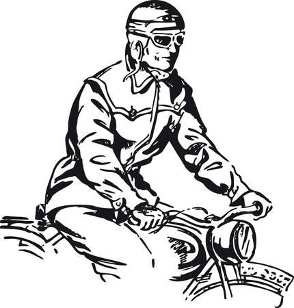 Man on a motorcycle, Retro Vector Illustration