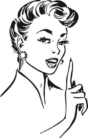 Talking woman, Retro Vector Illustration