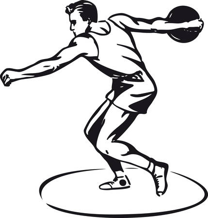 Discus thrower, retro vector illustration