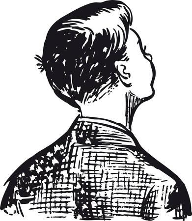 Boy looking up, Retro Vector Illustration