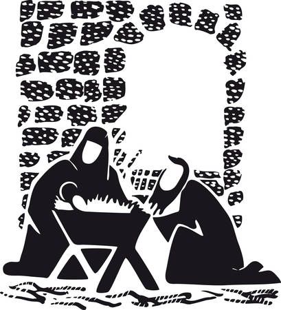 Jesus, Mary and Joseph with crib, Retro Vector Illustration